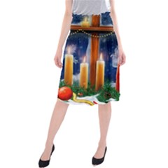 Christmas Lighting Candles Midi Beach Skirt