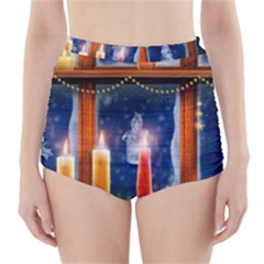 Christmas Lighting Candles High-Waisted Bikini Bottoms
