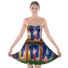 Christmas Lighting Candles Strapless Bra Top Dress