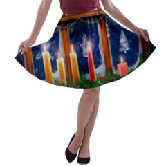 Christmas Lighting Candles A-line Skater Skirt