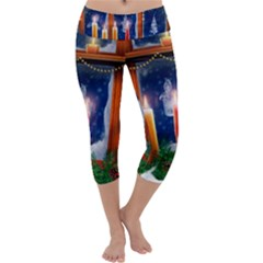 Christmas Lighting Candles Capri Yoga Leggings