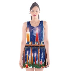Christmas Lighting Candles Scoop Neck Skater Dress