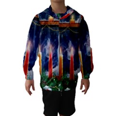 Christmas Lighting Candles Hooded Wind Breaker (Kids)