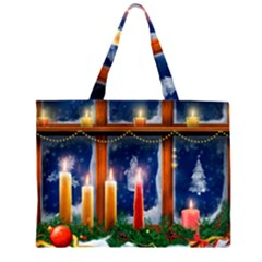 Christmas Lighting Candles Large Tote Bag