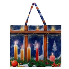 Christmas Lighting Candles Zipper Large Tote Bag