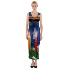 Christmas Lighting Candles Fitted Maxi Dress