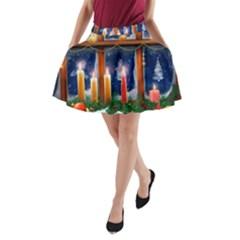 Christmas Lighting Candles A-Line Pocket Skirt