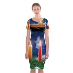 Christmas Lighting Candles Classic Short Sleeve Midi Dress