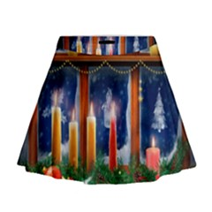 Christmas Lighting Candles Mini Flare Skirt