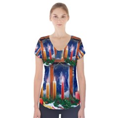 Christmas Lighting Candles Short Sleeve Front Detail Top