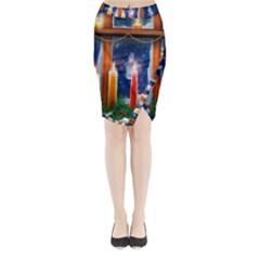 Christmas Lighting Candles Midi Wrap Pencil Skirt