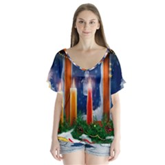 Christmas Lighting Candles Flutter Sleeve Top