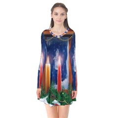 Christmas Lighting Candles Flare Dress