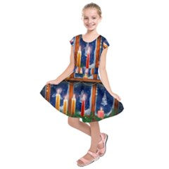 Christmas Lighting Candles Kids  Short Sleeve Dress