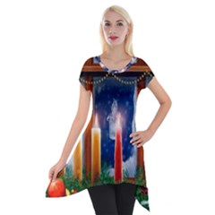 Christmas Lighting Candles Short Sleeve Side Drop Tunic
