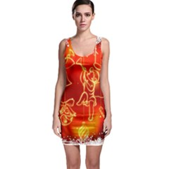 Christmas Widescreen Decoration Sleeveless Bodycon Dress