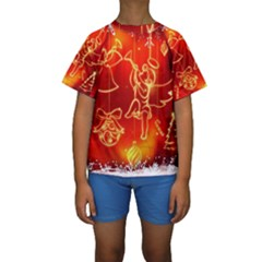 Christmas Widescreen Decoration Kids  Short Sleeve Swimwear