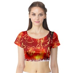 Christmas Widescreen Decoration Short Sleeve Crop Top (Tight Fit)