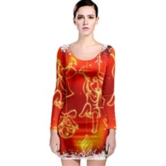 Christmas Widescreen Decoration Long Sleeve Bodycon Dress
