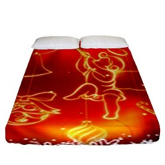 Christmas Widescreen Decoration Fitted Sheet (King Size)