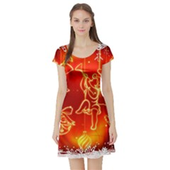 Christmas Widescreen Decoration Short Sleeve Skater Dress