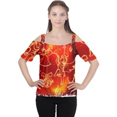 Christmas Widescreen Decoration Women s Cutout Shoulder Tee