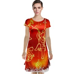 Christmas Widescreen Decoration Cap Sleeve Nightdress
