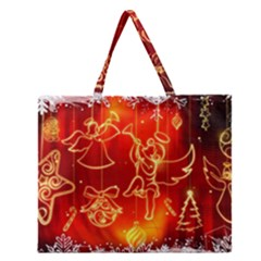 Christmas Widescreen Decoration Zipper Large Tote Bag