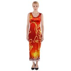 Christmas Widescreen Decoration Fitted Maxi Dress