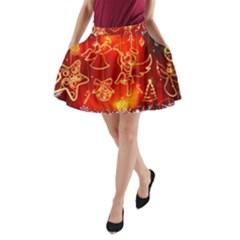 Christmas Widescreen Decoration A-Line Pocket Skirt