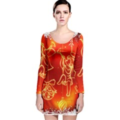 Christmas Widescreen Decoration Long Sleeve Velvet Bodycon Dress