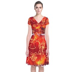 Christmas Widescreen Decoration Short Sleeve Front Wrap Dress