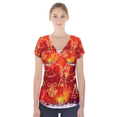 Christmas Widescreen Decoration Short Sleeve Front Detail Top