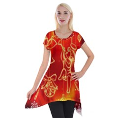 Christmas Widescreen Decoration Short Sleeve Side Drop Tunic