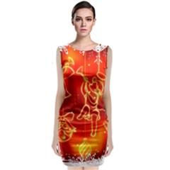 Christmas Widescreen Decoration Sleeveless Velvet Midi Dress
