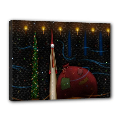 Christmas Xmas Bag Pattern Canvas 16  x 12
