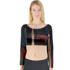 Christmas Xmas Bag Pattern Long Sleeve Crop Top