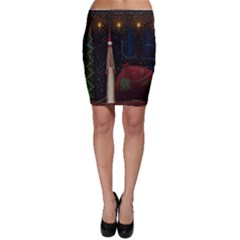 Christmas Xmas Bag Pattern Bodycon Skirt