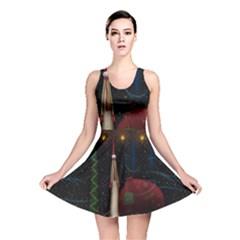 Christmas Xmas Bag Pattern Reversible Skater Dress