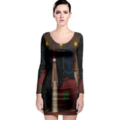 Christmas Xmas Bag Pattern Long Sleeve Bodycon Dress