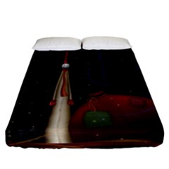 Christmas Xmas Bag Pattern Fitted Sheet (California King Size)