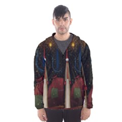 Christmas Xmas Bag Pattern Hooded Wind Breaker (Men)