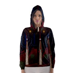 Christmas Xmas Bag Pattern Hooded Wind Breaker (Women)