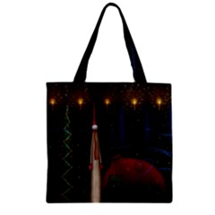 Christmas Xmas Bag Pattern Zipper Grocery Tote Bag
