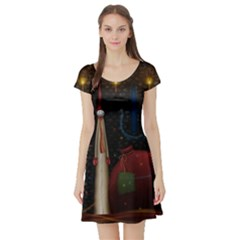 Christmas Xmas Bag Pattern Short Sleeve Skater Dress