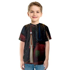 Christmas Xmas Bag Pattern Kids  Sport Mesh Tee