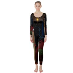 Christmas Xmas Bag Pattern Long Sleeve Catsuit