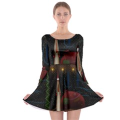 Christmas Xmas Bag Pattern Long Sleeve Skater Dress