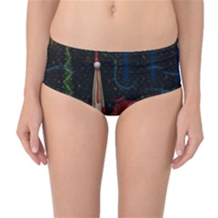 Christmas Xmas Bag Pattern Mid-Waist Bikini Bottoms