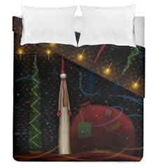 Christmas Xmas Bag Pattern Duvet Cover Double Side (Queen Size)